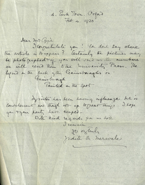 Letter from Judith Merivale to Oppé dated 4 February 1920 (Archive Ref: APO/1/16/2)