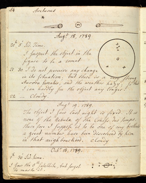 Caroline Herschel's 1789 observations of the comet now known as Comet Herschel-Rigollet