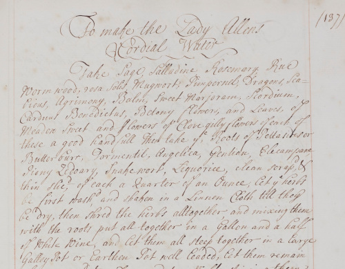 Recipe for Lady Allen's Cordial Water from Jane Blenkinsopp Coulson's recipe book (WBC/3).