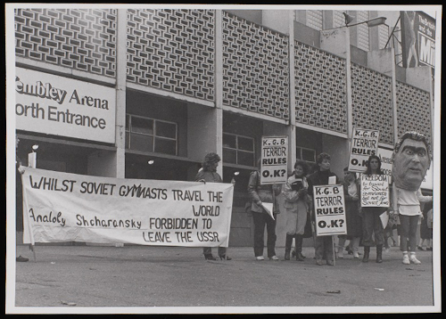 MS 254 A980/4/22/178/3 Demonstration outside Wembley Arena, 1980.