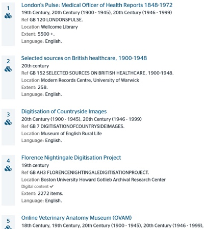 screenshot hit list showing online resources on health