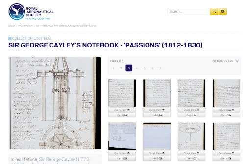Sir George Caley's notebook on www.AeroSocietyHeritage.com