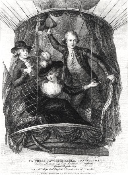 Lithograph of George Biggin, Letitia Sage and Vincenzo Lunardi ascending from St George's Fields, London, 29 June 1785.