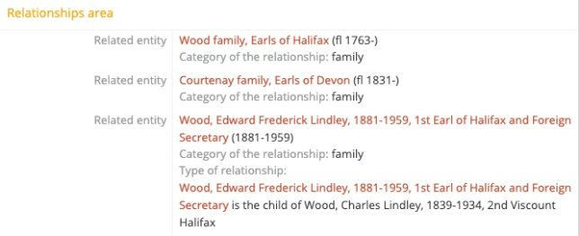 screenshot of part of the Viscount Wood record showing relationships to other people
