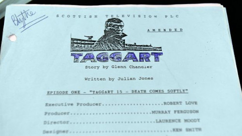 Close up photo of cover page of script for episode of Taggart. 'Blythe' handwritten in top corner.