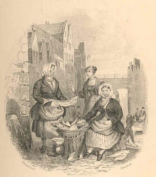Women Fish Sellers - from Hamilton, Robert (1866) British Fishes, Part II, Naturalist's Library, vol. 37, London: Chatto and Windus. Image in the public domain (photograph from the Freshwater and Marine Image Bank at the University of Washington).