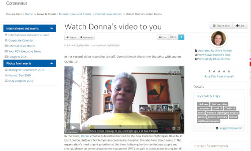 A video message from Donna Kinnar, General Secretary, on the staff intranet. An example of the range of formats collected for the COVID-19 archive.
