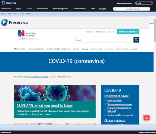 One of our first attempts at archiving the RCN COVID-19 webpages using our digital archive.