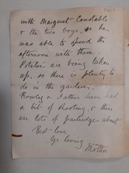 Letter from Mary Emily Marriott to her eldest son James, September 13th 1914. COTMA:5413.