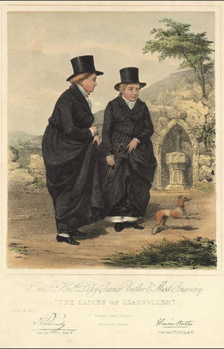 James Henry Lynch: The Rt. Hon. Lady Eleanor Butler & Miss Ponsonby 'The Ladies of Llangollen'. A portrait from the Welsh Portrait Collection at the National Library of Wales. Image in the public domain.