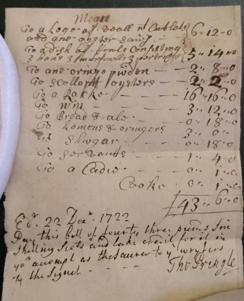 Bar bill from a WS Society dinner in Ediburgh, 1722.