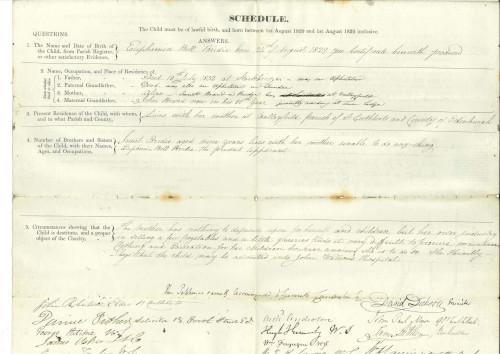 John Watson's institution entry form for Euphemia Bridie 1837.