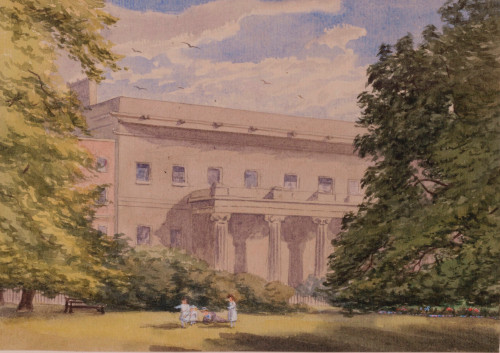 The Royal College of Surgeons of England in Lincoln's Inn Fields, London, sketched by Lady Giorgiana Flower in 1870.